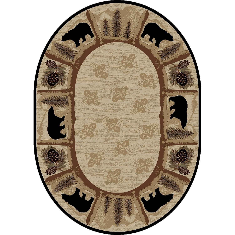 Rustic Lodge Bear Beige Black Oval