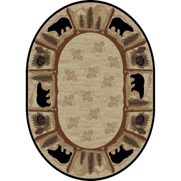 "Rustic Lodge Bear Beige/Black Oval Area Rug - 7'10"" x 9'10"" Oval"