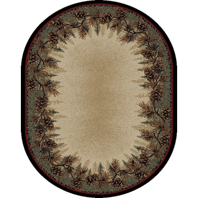 Rustic Lodge Pine Cone Border Oval Area Rug - 53 x 73 Oval (Multi - 53 x 73 Oval)