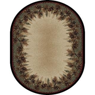 "Rustic Lodge Pine Cone Border 5x7 Oval Area Rug 5'3""x7'3"" - 5'3"" x 7'3"" Oval"