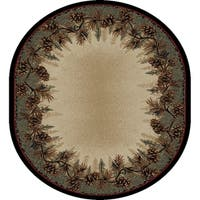 "Rustic Lodge Bear Panel Oval Area Rug - 7'10"" x 9'10"" Oval"