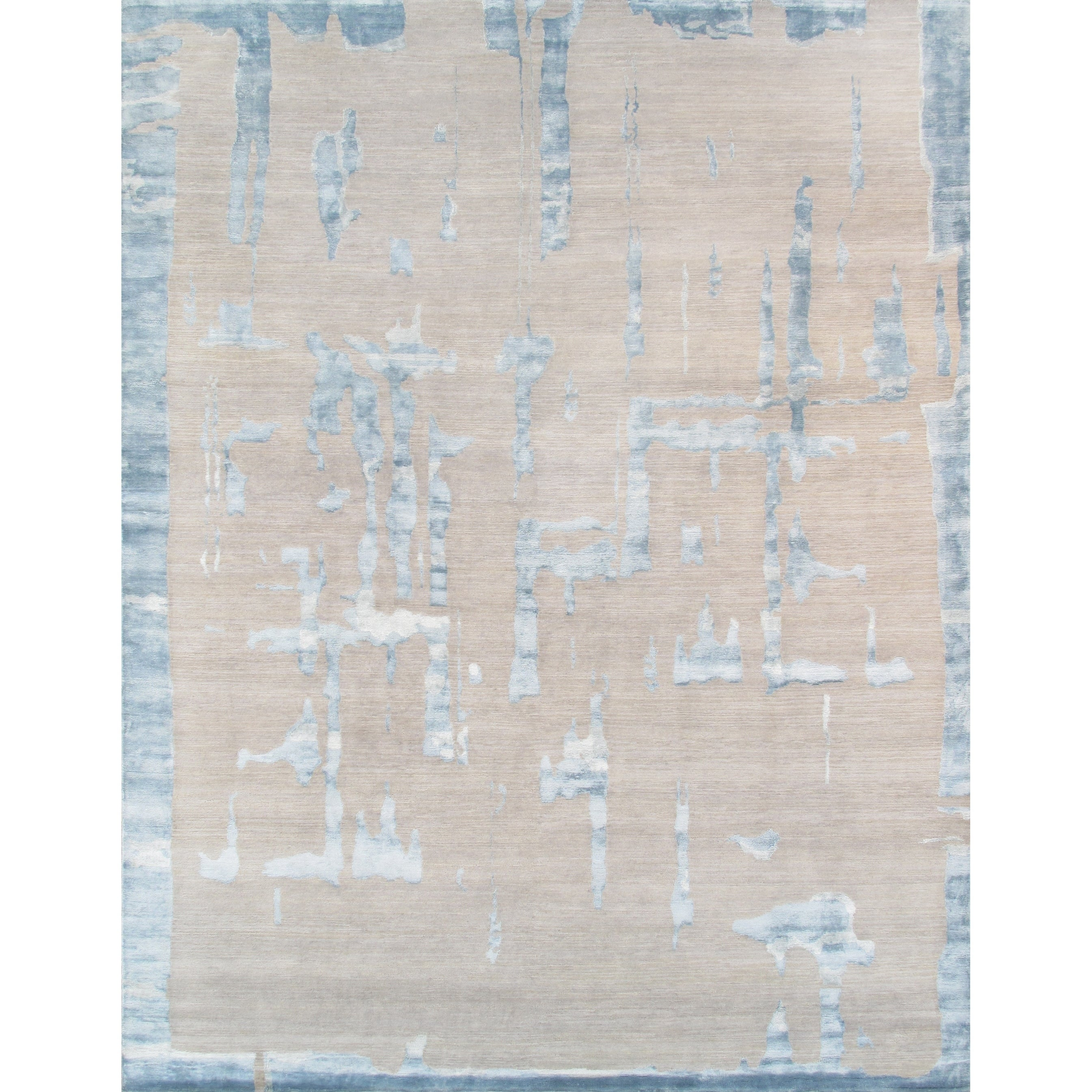 Pasargad Modern Collection Silk & Wool Area Rug (8 1 X 9 9) - 8 x 10 (8 x 10 - Silver)