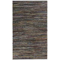 Complex Grey Woven 5x8' Cotton Rug - 5' x 8'