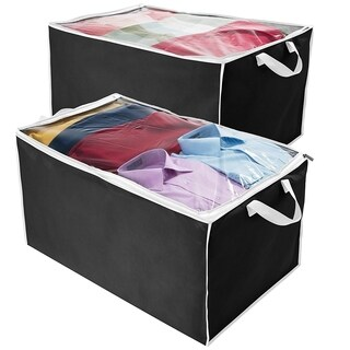 Jumbo Blanket Storage Bag, Breathable Nonwoven Soft Storage Bag for Clothes Black with White Trim, 29L x 17.5W x 15.5H Set of 2