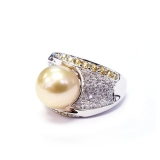 Pearl Lustre Golden South Sea and Diamond ring with Sapphires