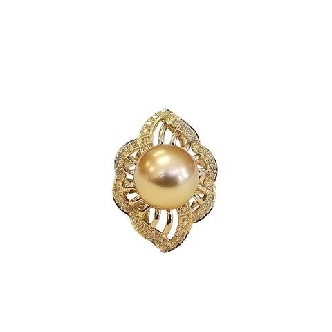 Pearl Lustre Golden South Sea and Diamond Ring