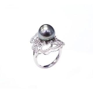 Pearl Lustre Black Tahatian Pearl Ring with Diamonds