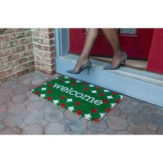 Red and Green Welcome Handwoven Coconut Fiber Doormat