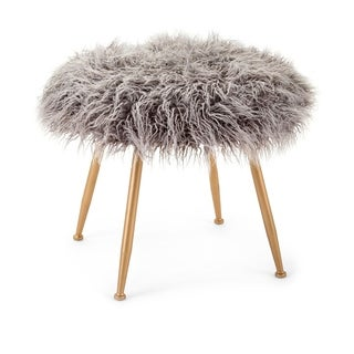 Vadden Gold and Grey Fuzzy Stool