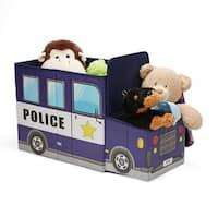 Mind Reader Children's Favorite Cartoon Storage Stool/Chair Police Vehicle, Blue