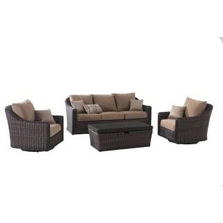 Sunjoy Contemporary Brown Wicker Deep Seating Set