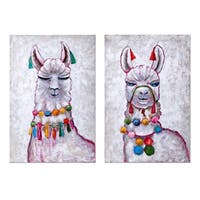 Llama Multi-color Party Oil Paintings (Ast 2) - Pink/White