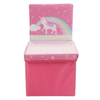 Mind Reader Children's Favorite Cartoon Unicorn Storage Stool/Chair, Pink