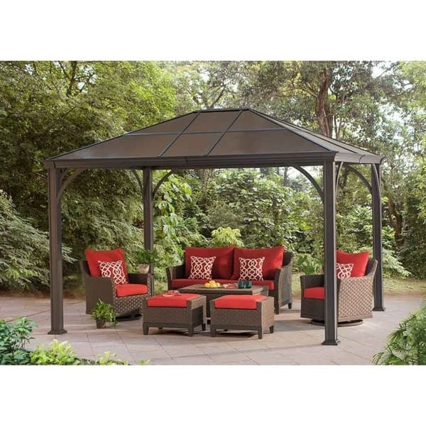 Shop Sunjoy Kramer Brown Hardtop Gazebo 10'x12' - Free