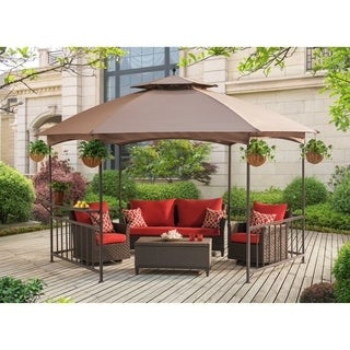 Sunjoy Madison Brown Fabric 11.4-foot x 13.2-foot Pavilion Hex Gazebo