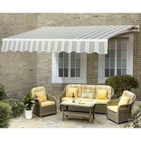 Sunjoy  Manual Awning-Green & White