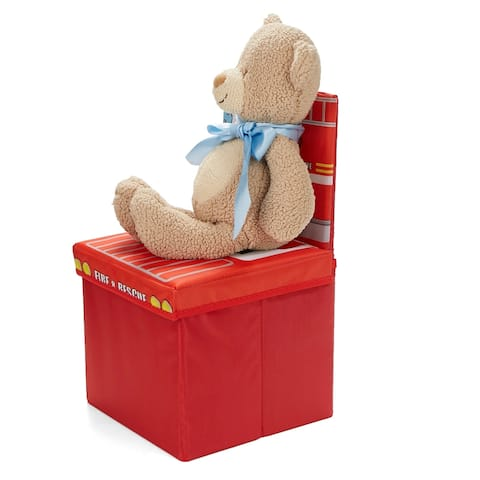 Mind Reader Children's Favorite Cartoon Storage Stool/Chair Fire Fighter Vehicle, Red