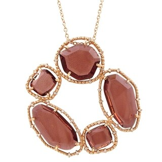 Luxiro Sterling Silver Rose Gold Finish Rhodalite Lucite with CZ's Open Circle Necklace