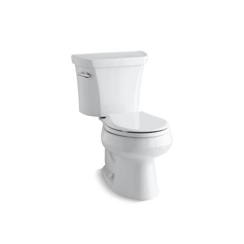 Kohler K-3997 Wellworth Two-Piece Round-Front 1.28 GPF Toilet with Class Five Flush Technology and Left-Hand Lever, Less Seat