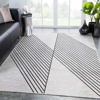 "Nikki Chu Cyrene Indoor/ Outdoor Geometric Light Gray/ Black Area Rug - 2' x 3'7"""