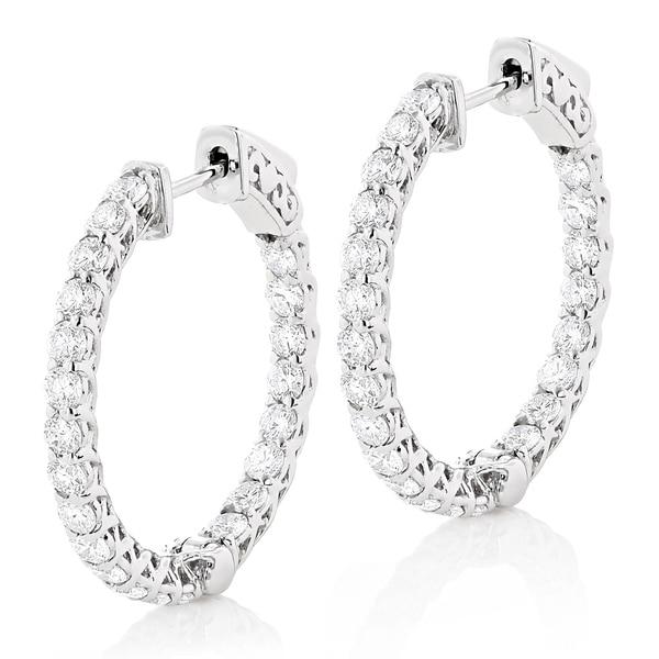 9b6e2c91e478 Ladies 1 inch Diamond Hoops 14K Gold Inside Out Diamond Hoop Earrings  2.2ctw G-H Color