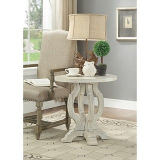 """Somette Orchard White Rub Orchard Park Accent Table - 27""""L x 27""""W x 7.5""""H"""