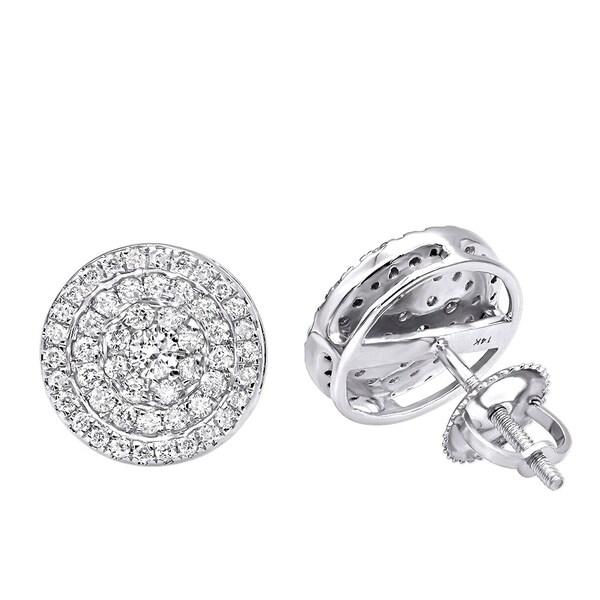 Pave Diamond Earrings for Men & Women 14k Gold 3/4ct Studs Real Diamonds by Luxurman. Opens flyout.