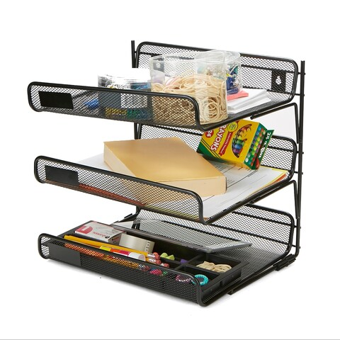 Mind Reader Metal Mesh 3 Tier Wall Mount Paper Tray, Document Paper File Organizer, Black