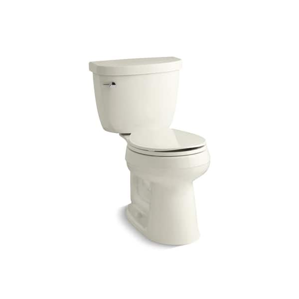 KOHLER K-3887-0 Cimarron Comfort Height Two-Piece Round-Front 1.28 GPF Toilet with AquaPiston Flush Technology and Left-Hand Trip Lever White
