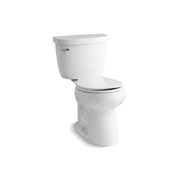 Kohler K-3887 Cimarron Comfort Height Two-Piece Round-Front 1.28 GPF Toilet with AquaPiston Flush Technology, Less Seat