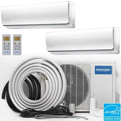 MRCOOL Olympus 18,000 BTU Ductless Heat Pump Split System 2 Zone Wall Mounted 9,000+9,000 with 25 ft. Install Kit - White