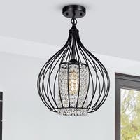 Cristina Matte Black 1-Light Semi-Flushmount with Crystal Shade