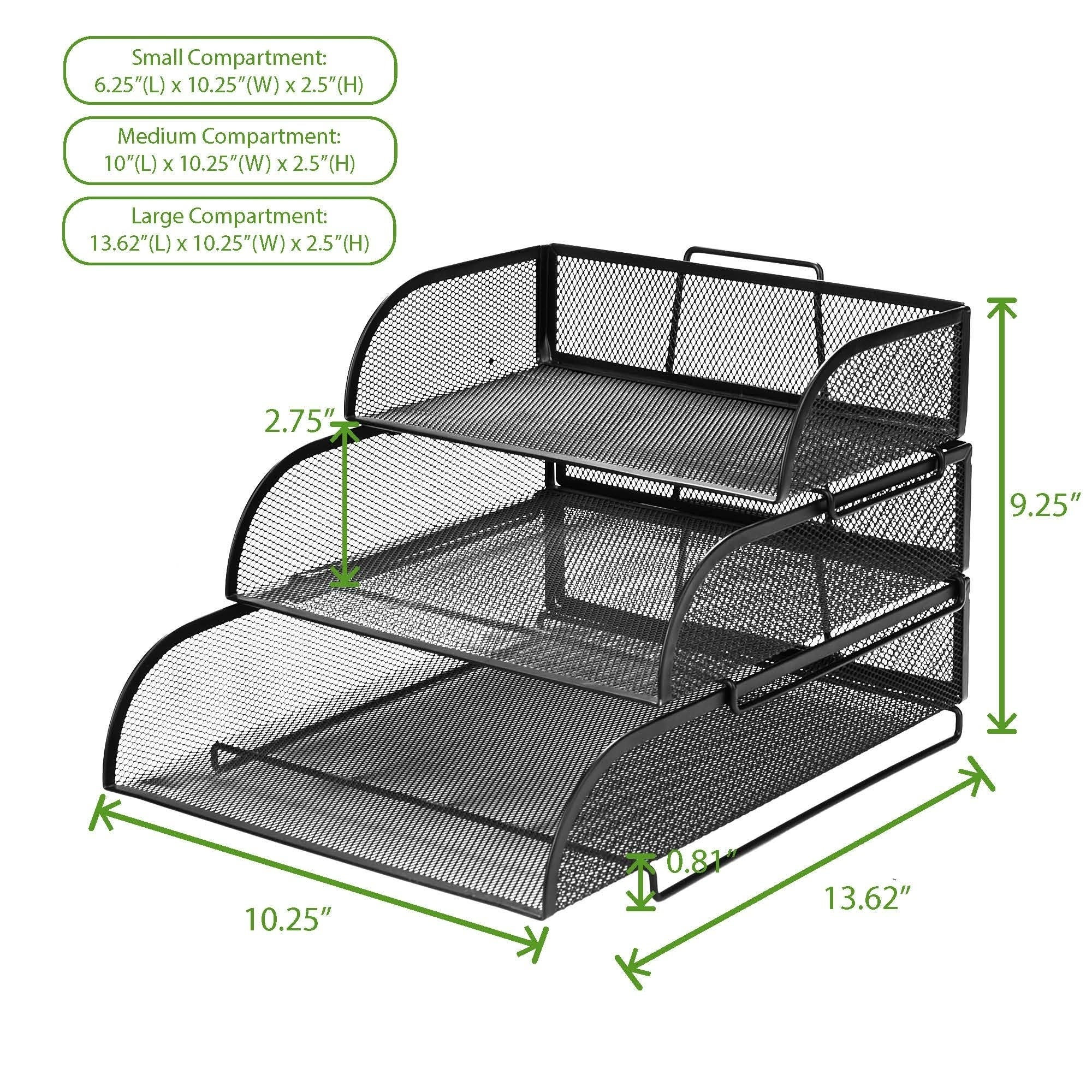 5d397403c Shop Mind Reader Metal Mesh 3 Tier Different Sized Paper Trays Desk  Organizer, Letter Tray, Document Paper File, Black - Free Shipping On  Orders Over $45 ...