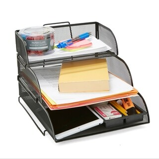 Mind Reader Metal Mesh 3 Tier Different Sized Paper Trays Desk Organizer, Letter Tray, Document Paper File, Black