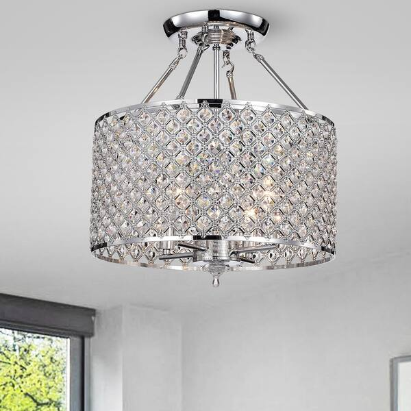 Daniel Chrome 4 Light Semi Flushmount With Crystal Shade Silver