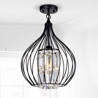 Hester Matte Black 1-Light Semi-Flushmount with Crystal Shade