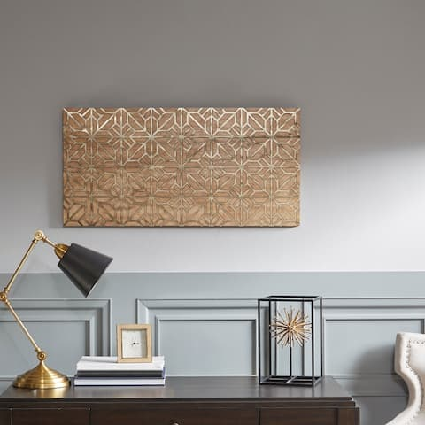 Madison Park Signature Mormont Wooden Wall Art with Pattern - Gold