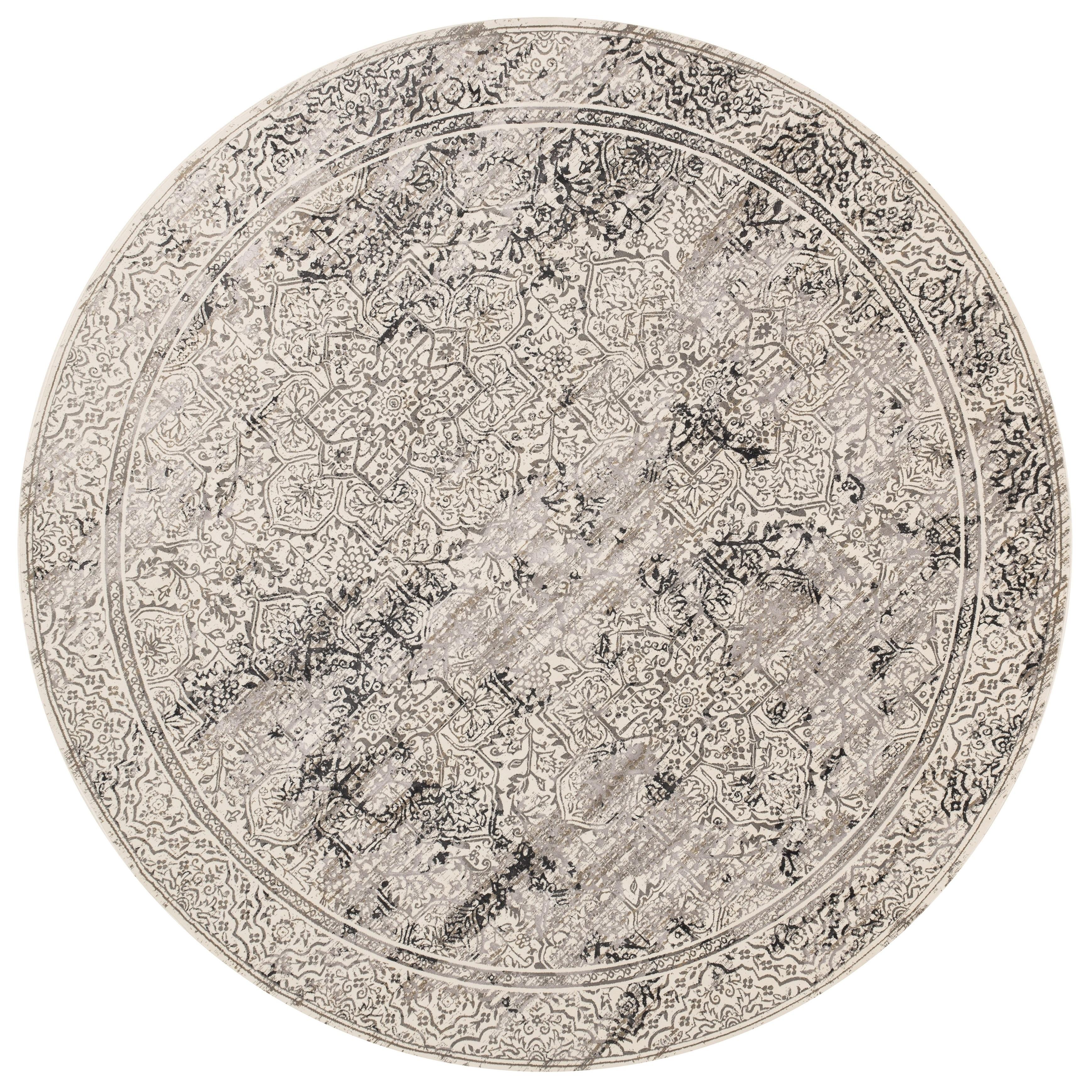 Distressed Vintage Inspired Grey Filigree Round Rug - 93 x 93 Round (Ivory/Grey - 93 x 93 Round)