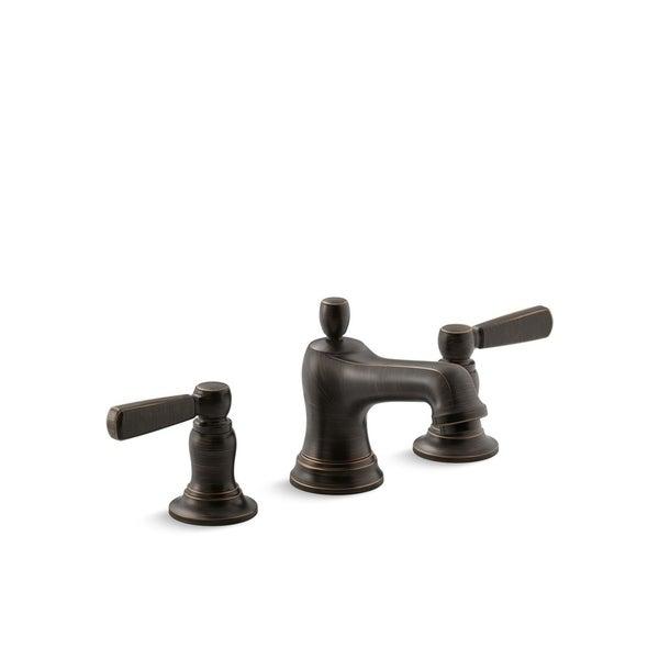 Kohler Bancroft Widespread Bathroom Sink Faucet with Metal Lever Handles Oil-Rubbed Bronze (K-10577-4-2BZ). Opens flyout.