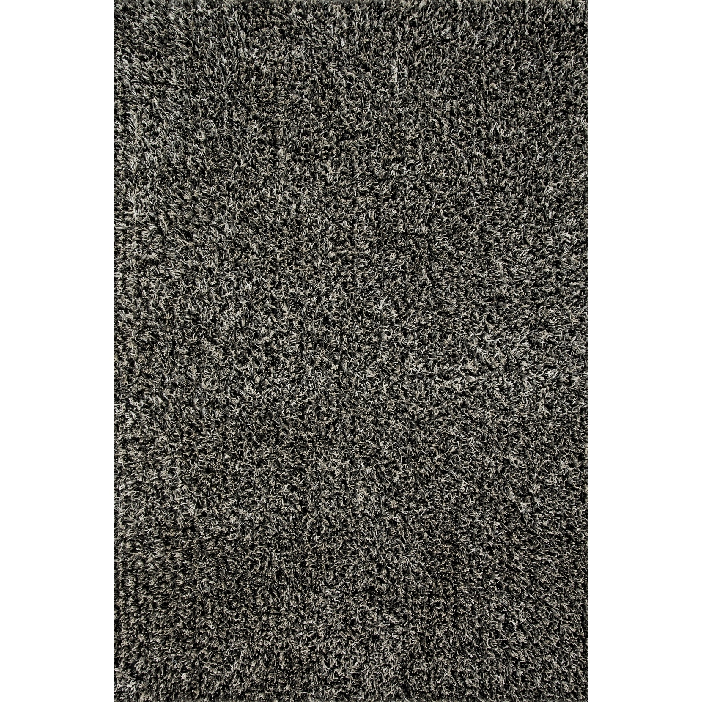 Mid-century Modern Grey/ Black Shag Rug - 5 x 76 (Grey/Black - 5 x 76)