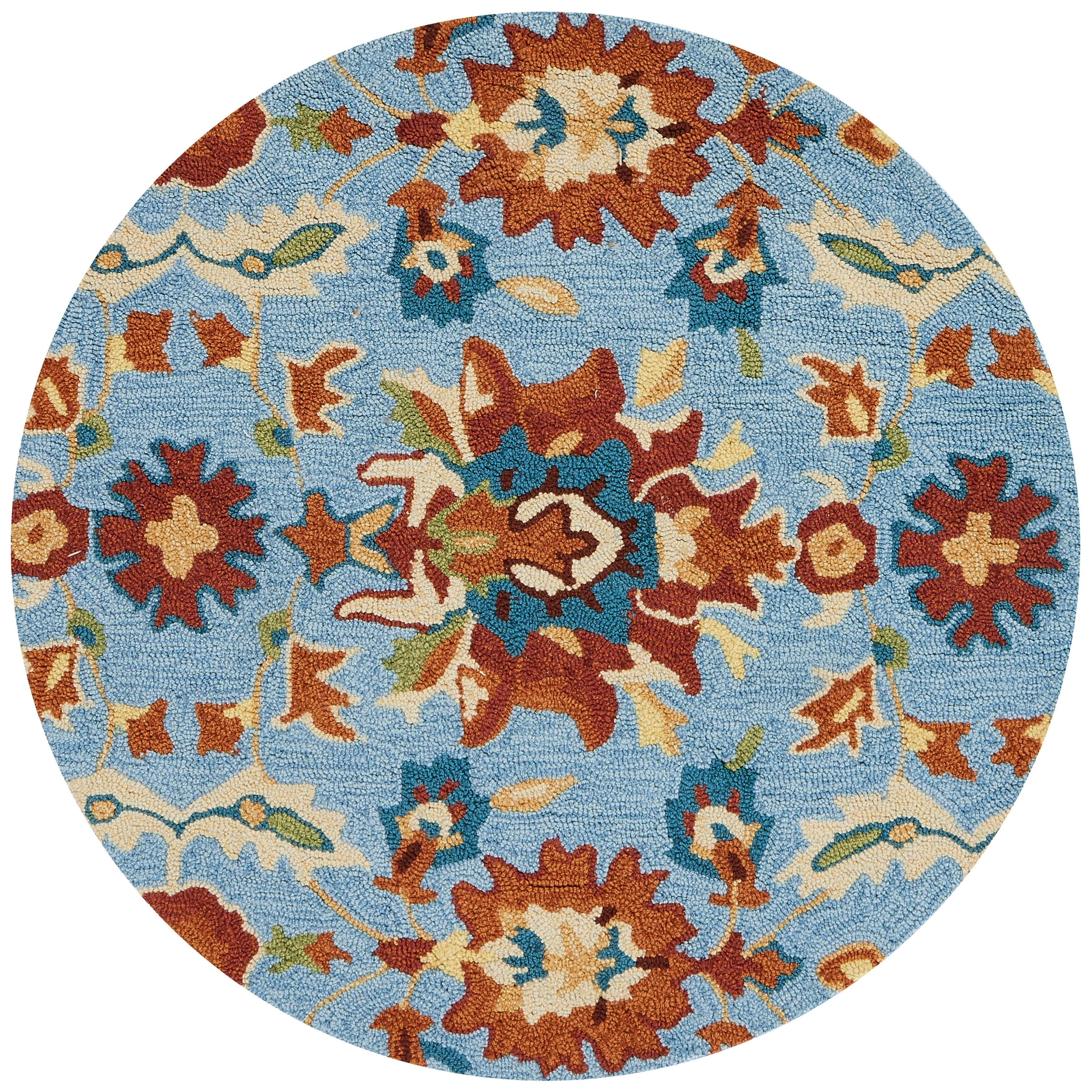Hand-hooked Transitional Light Blue/ Rust Floral Round Rug - 3 x 3 Round (Light Blue/Spice - 3 x 3 Round)