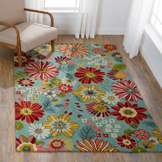 "Hand-hooked Floral Aqua Blue/ Pink Transitional Rug - 3'6"" x 5'6"""