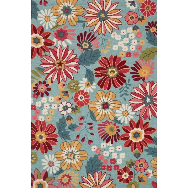 Shop Hand-hooked Floral Aqua Blue/ Pink Transitional Rug