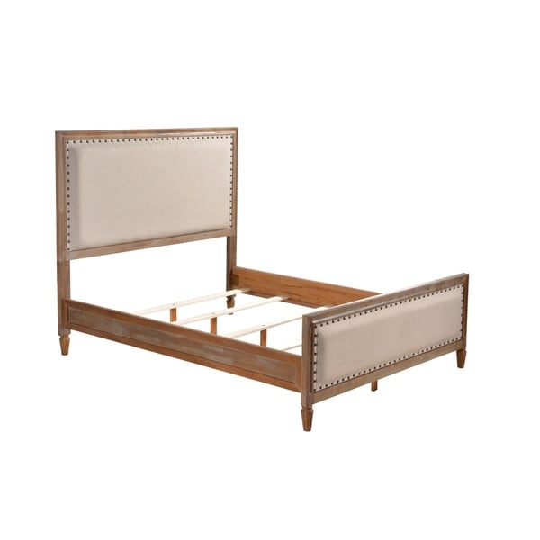 Shop Luxeo Cambridge Solid Wood Bed With Upholstered Trim Free