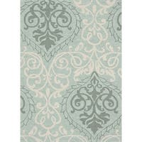 Hand-hooked Transitional Mint Green Damask Rug - 5' x 7'6""