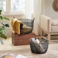 Madison Park Floret Woven Metal Basket Set (Set of 2)