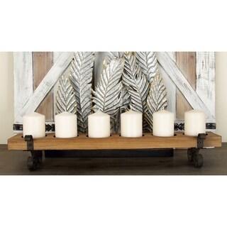 Pine Canopy Clarkia Brown Wood/Metal 6-light Candleholder