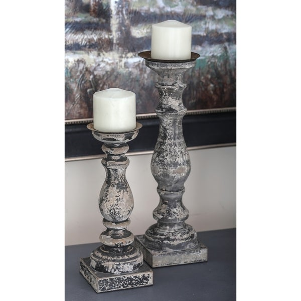The Gray Barn Philmont Green Distressed Wood Candle Holders (Set of 3)