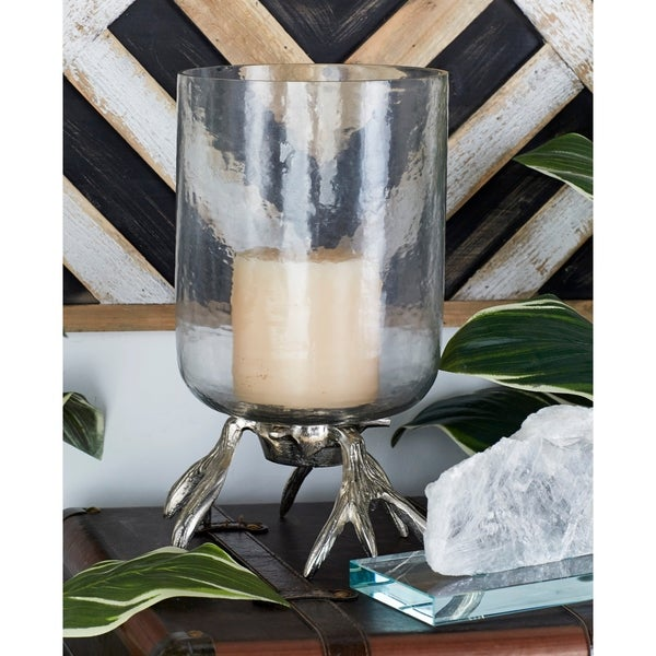Silver Orchid Guilbert Silver Aluminum and Glass Hurricane Candle Holder