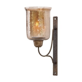 The Gray Barn Warrnambol Metal and Glass Wall Mount Candle Sconce
